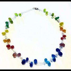 🎈3/$10 Rainbow colored Matte glass bead necklace